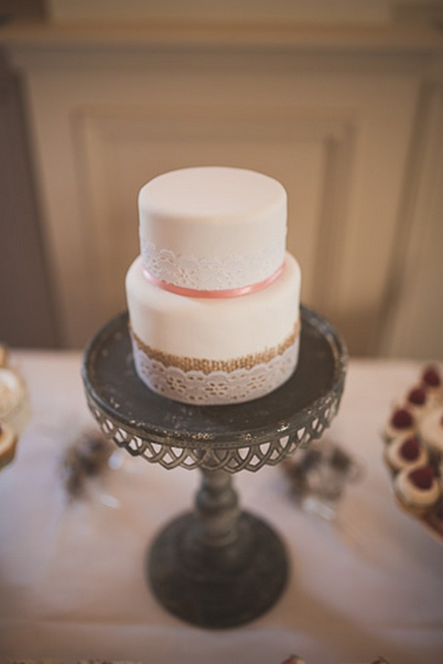 white-two-tier-simple-wedding-cake-peach-gold (2)