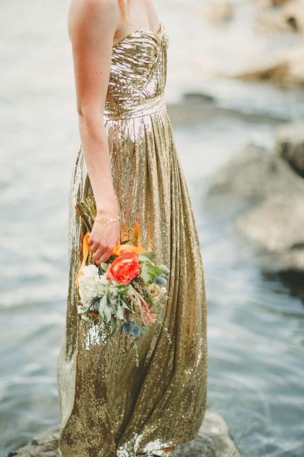 badgley-mischka-gold-sequin-Metallic-Wedding-Dress