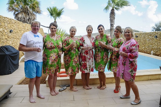 bridal-party-in-floral-robes-real-wedding-malta