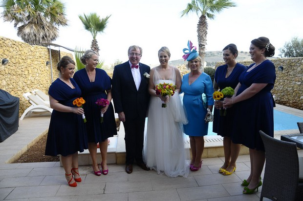 bridesmaids-in-navy-dresses-colourful-shoes-real-wedding-malta