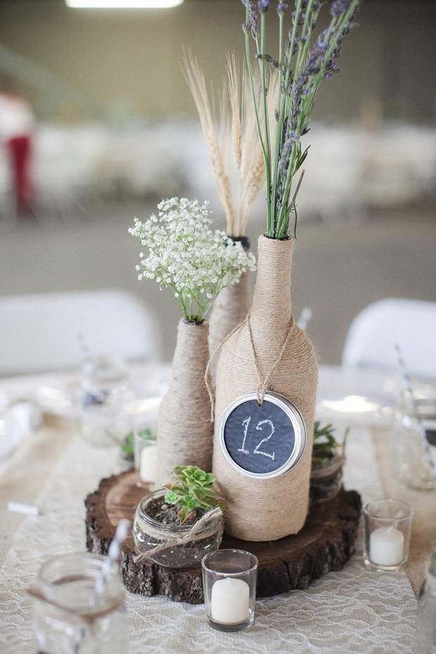 rustic-twine-covered-wine-bottle-wedding-centerpiece