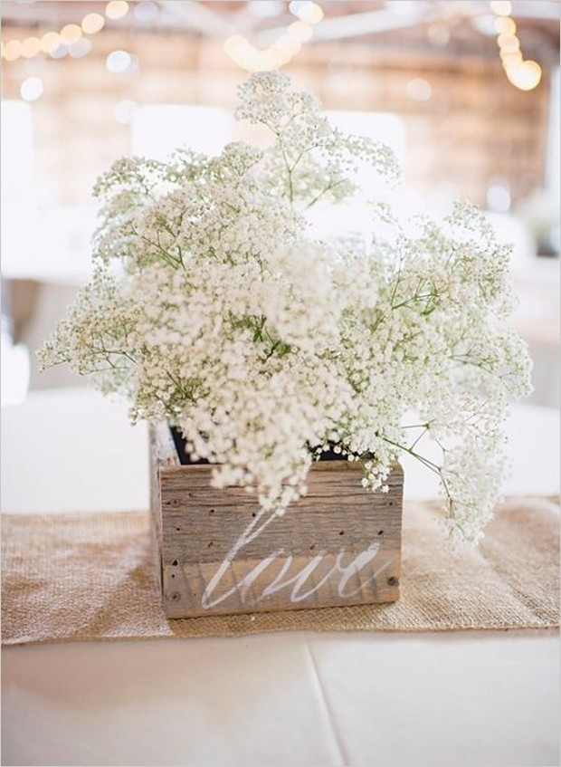 rustic-wedding-centerpiece-ideas-babys-breath-filled-wooden-box