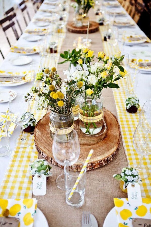 spring-wedding-ideas-centerpiece-yellow-gingham-table-decor