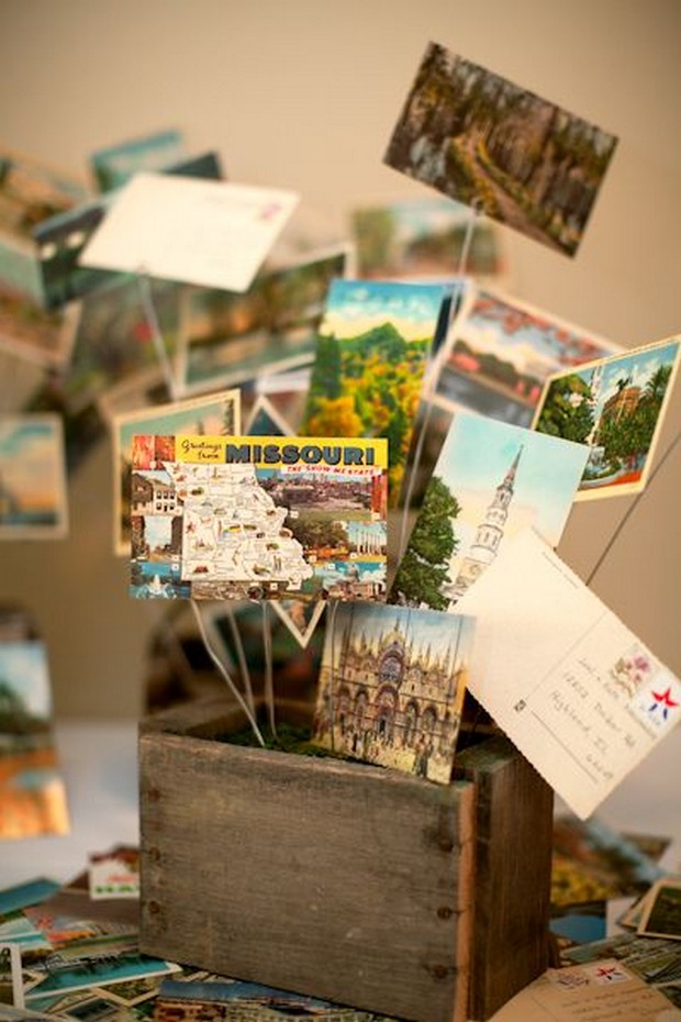 travel-themed-wedding-decor-postcards