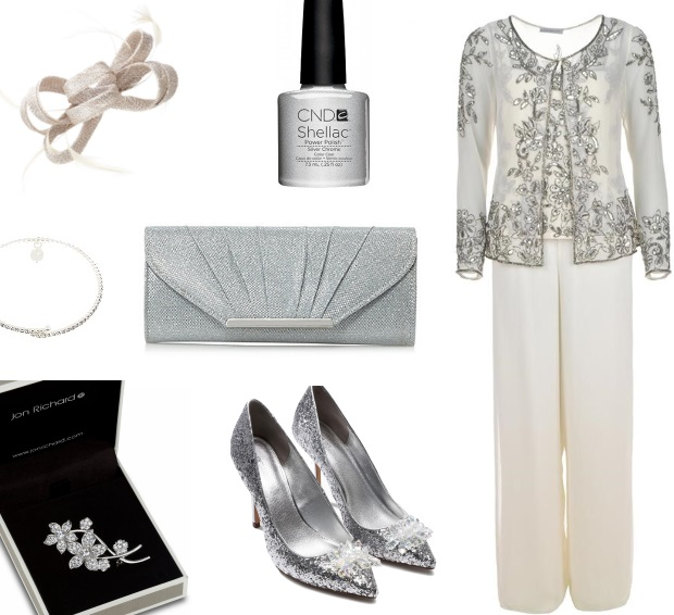 Gina Bacconi Mother of the Bride Silver Trouser Suit