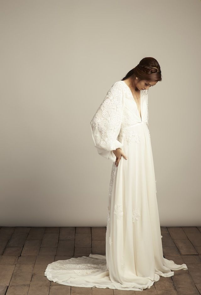 Vania Romoff Wedding Dress Boho Bell Sleeves
