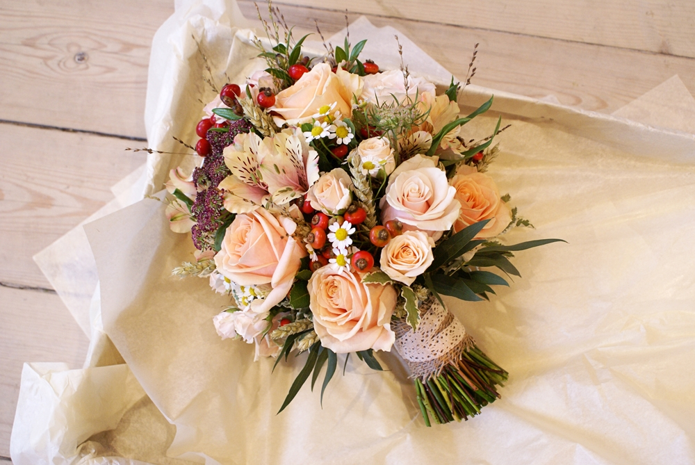 Autumn Peach Posy Wedding Bouquet Bloomsday Flowers
