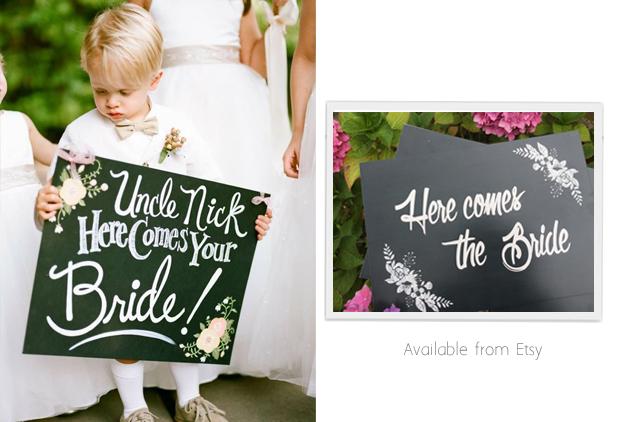 chalk-board-here-comes-the-bride-sign