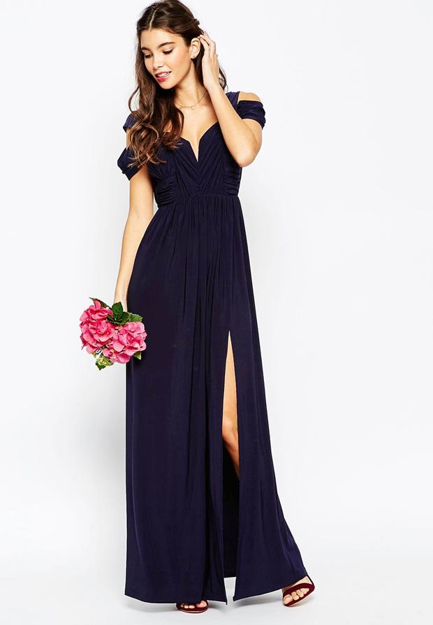 Asos Wedding Off The Shoulder Navy Bridesmaid Dress