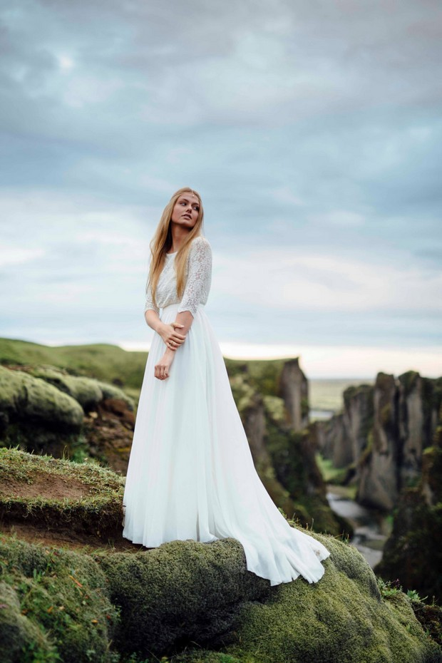 Vestido de novia de manga larga con cuello alto CathyTelle-Etsy