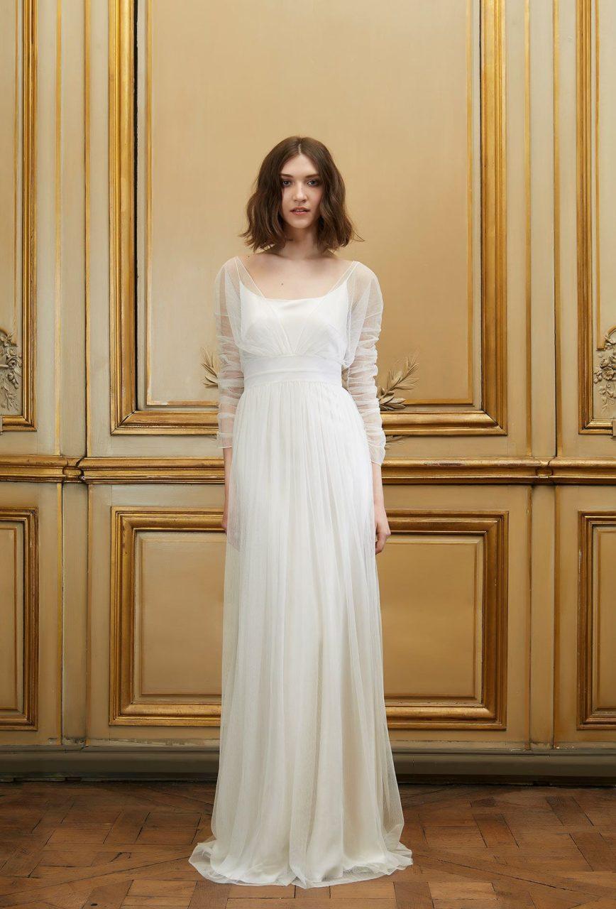 Vestido de novia de manga larga Sheer Delphine Manivet