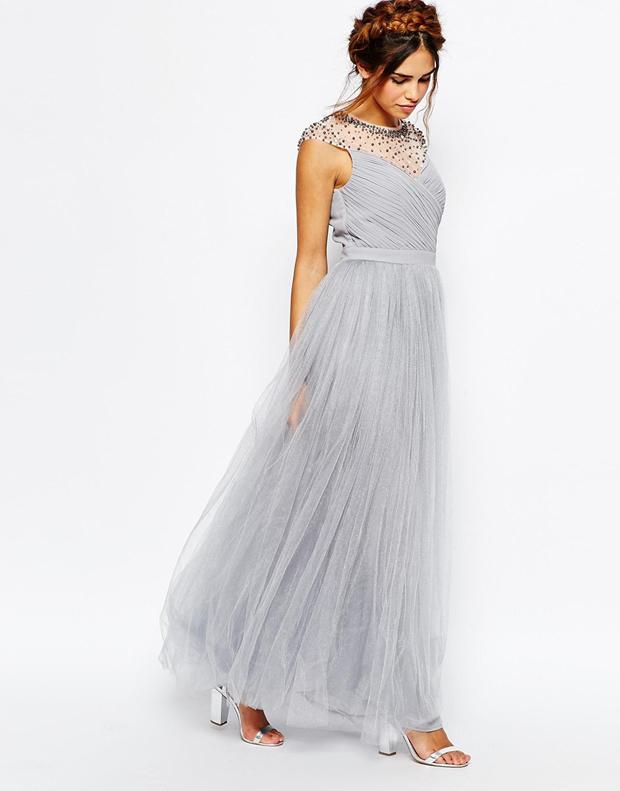 grey-bridesmaid-dress-with-embellished-neckline