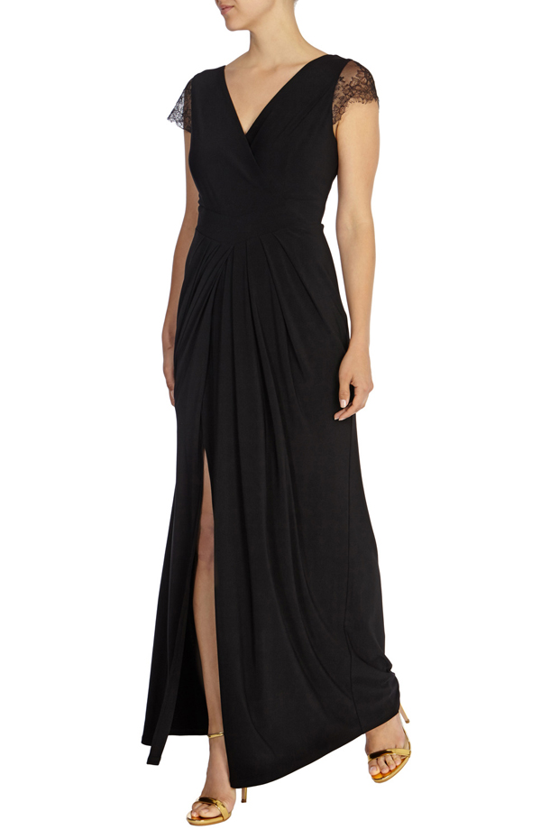 black-cap-sleeve-bridesmaid-dress