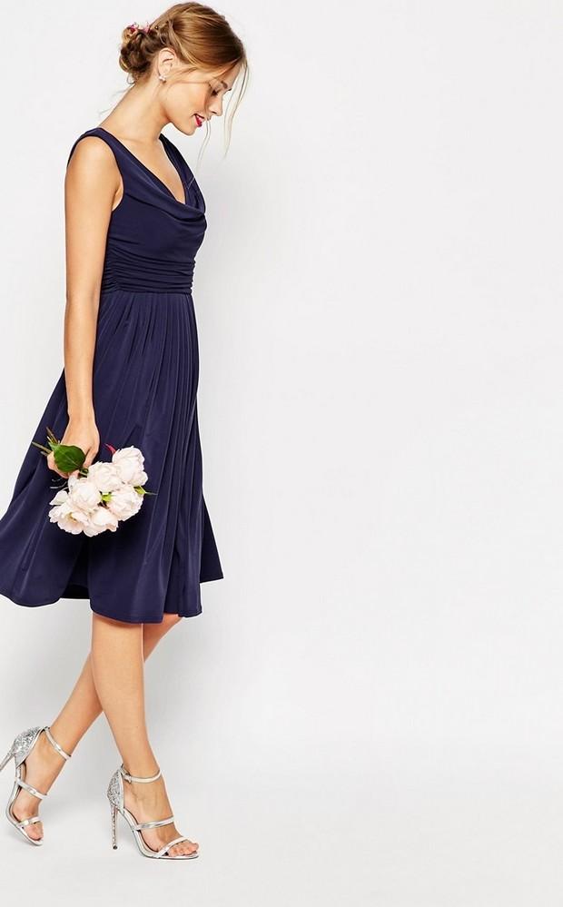 Navy Midi Cowl Neck Bridesmaid Dress Asos