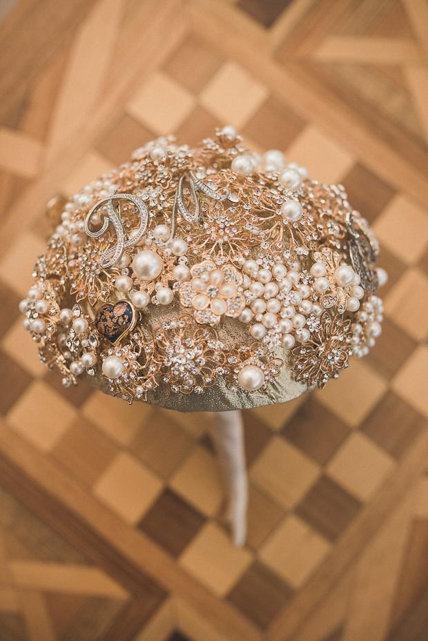 pearl-gold-blue-brooch-bouquet-initials-monogram-wedding-brown