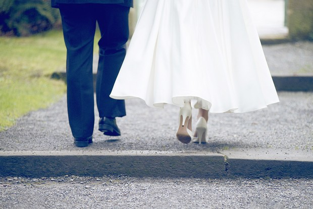 22_Bride_Groom_Walking_Tea_Length_Dress