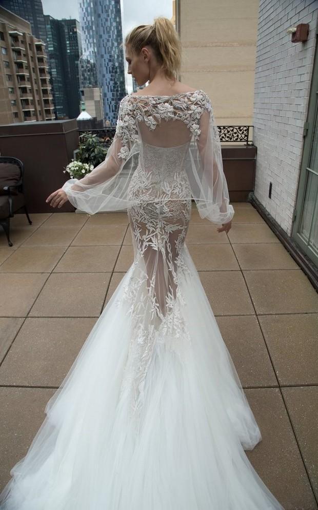 Inbal_Dror_Sheer_Embellished_Cape_Wedding_Dress