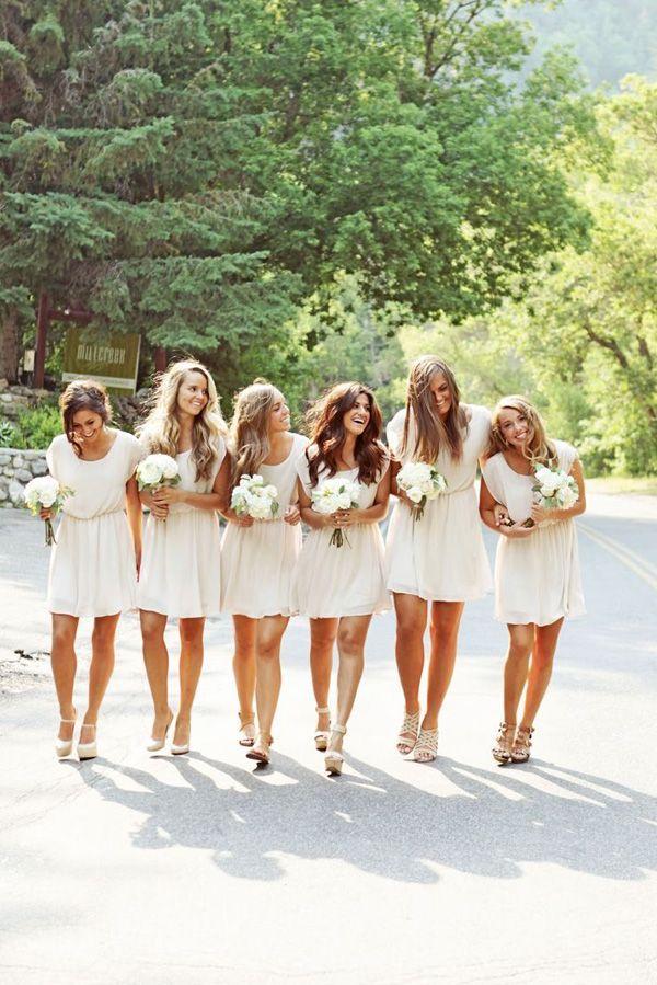 Short white dessy dresses