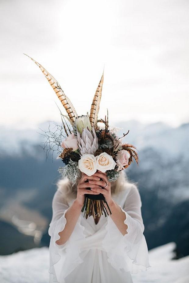 winter-wedding-bouquets-crimson-feather