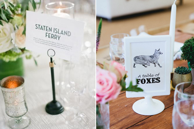 Creative Wedding Table Name Ideas
