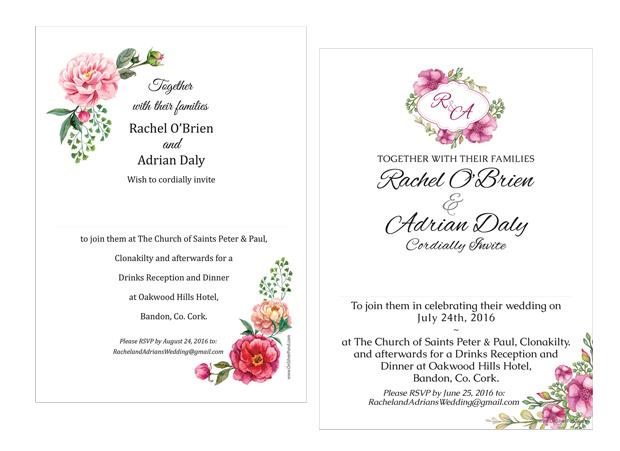 floral-wedding-invites-on-silver-pond