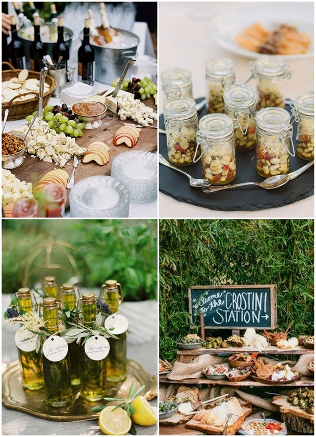 15 wedding food stations your guests will love for Italian canape ideas