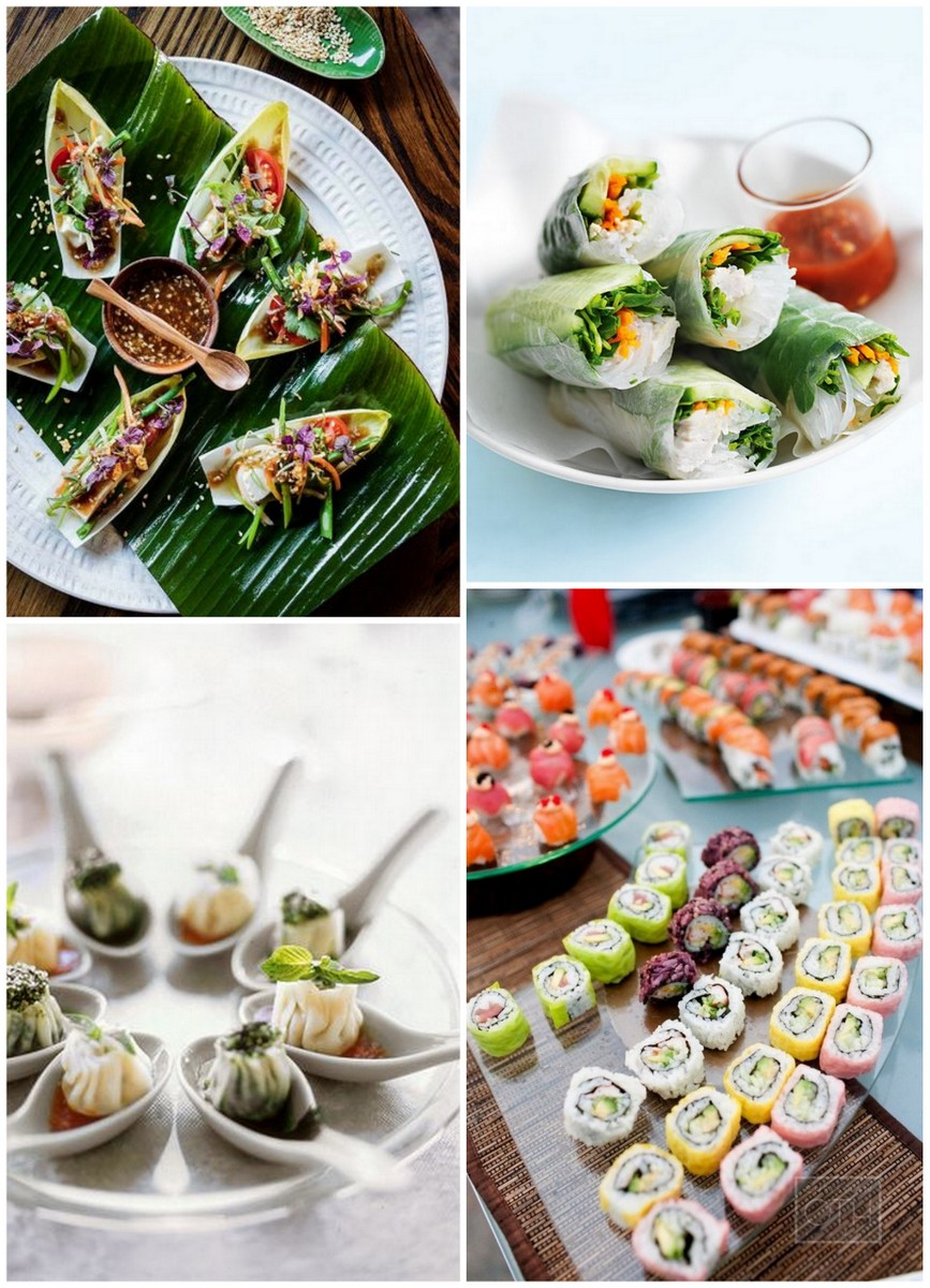 15 wedding food stations your guests will love for Wedding canape ideas