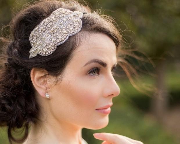9 vintage side headpieces art deco style applique