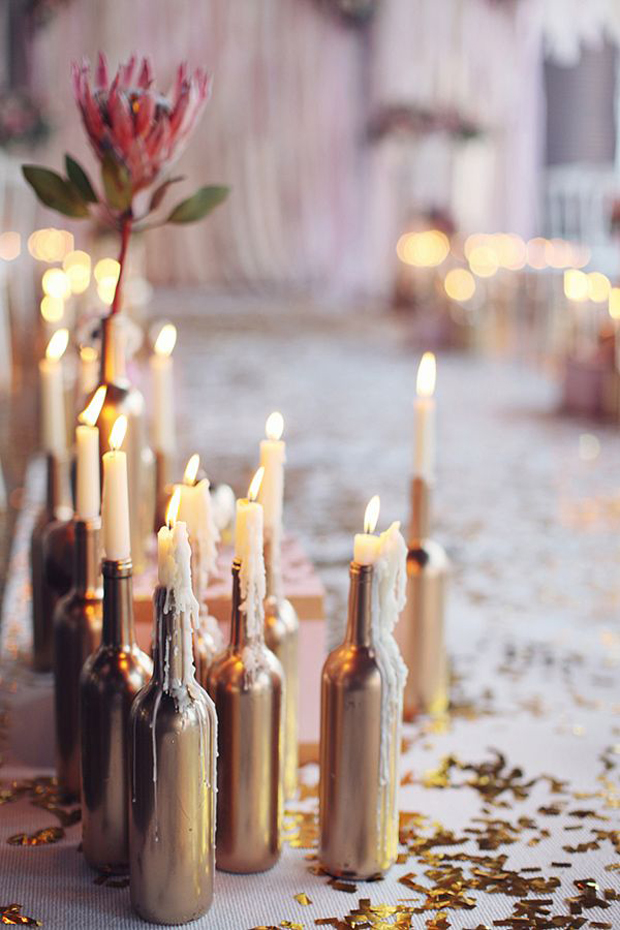 DIY-gold-wine-bottles-candle-holder-wedding