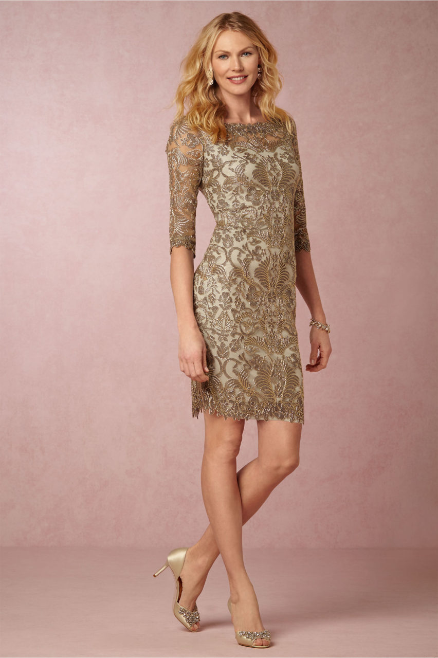 Pearl-Gold-Detail-Lace-Mother-ofthe-Bride-Pencil-Dress-Long-Sleeves