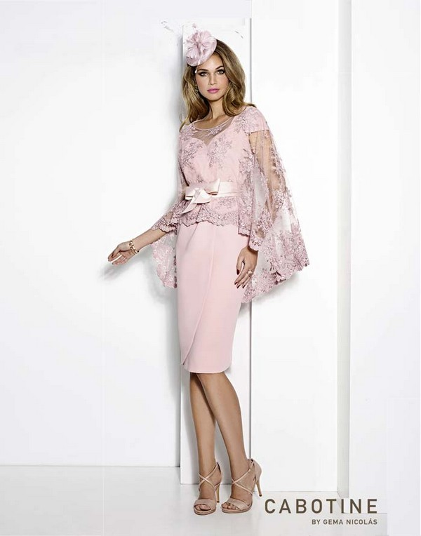 Stylish-Pale-Pink-Mother-of-the-Bride-Dress-Lace-Cape-Cabotine