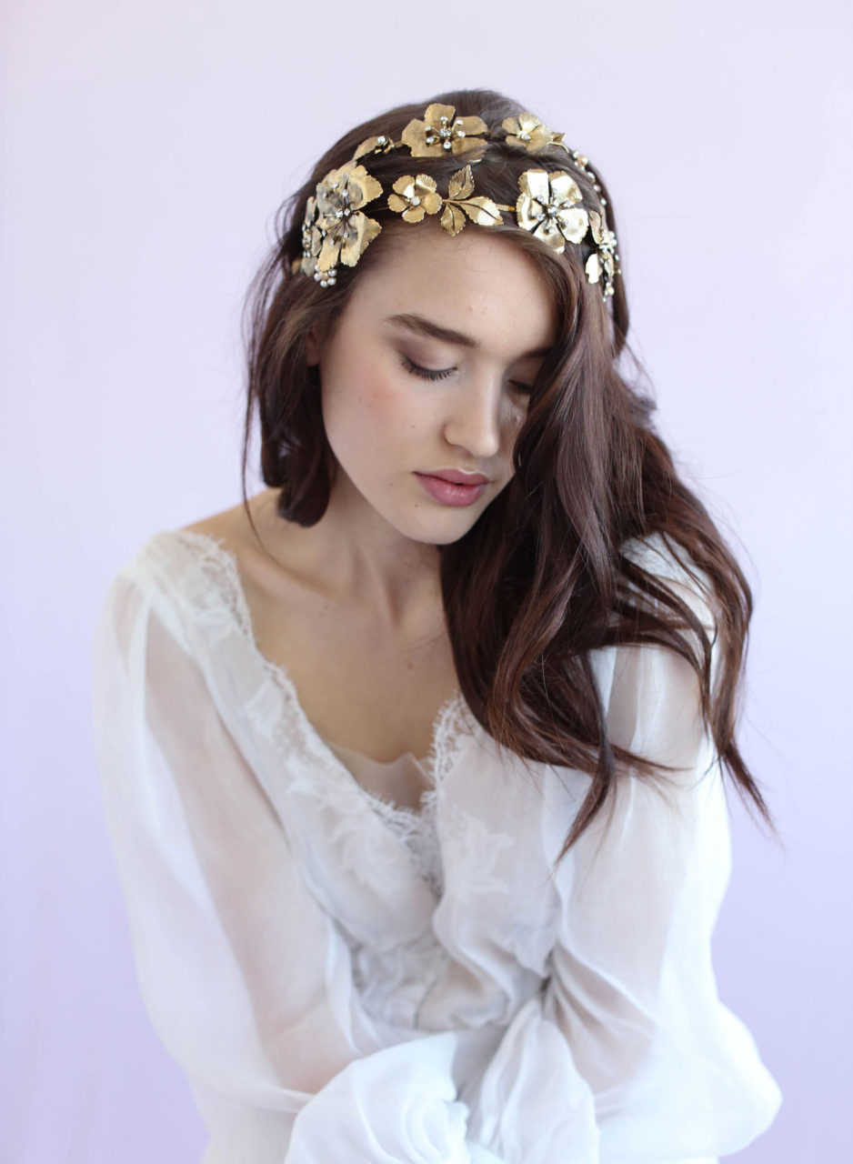 Gold Flower Double Headband Grecian Wedding Hair Accessory