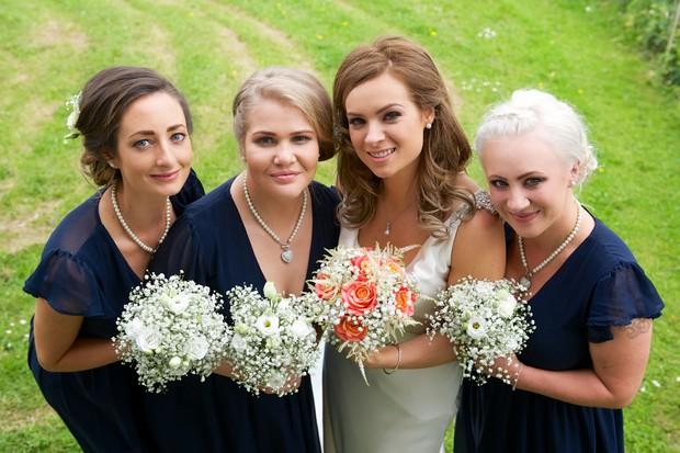 26-Navy-Bridesmaid-Dresses-Capped-Sleeves-weddingsonline