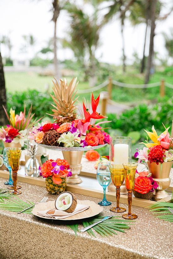 The most fun tropical wedding theme youve ever seen weddingsonline tropical pink wedding table decor junglespirit Gallery