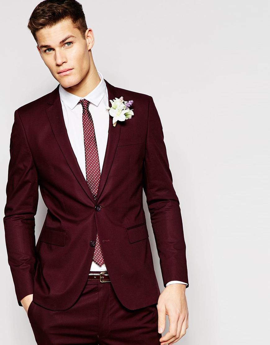 Asos Skinny Suit Burgundy Red Wedding Groom