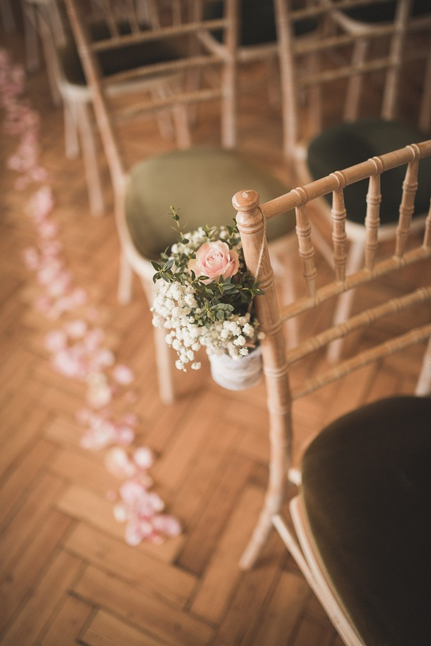 country-charm-style-wedding-pew-ends-babys-breath-hanging-pots-1