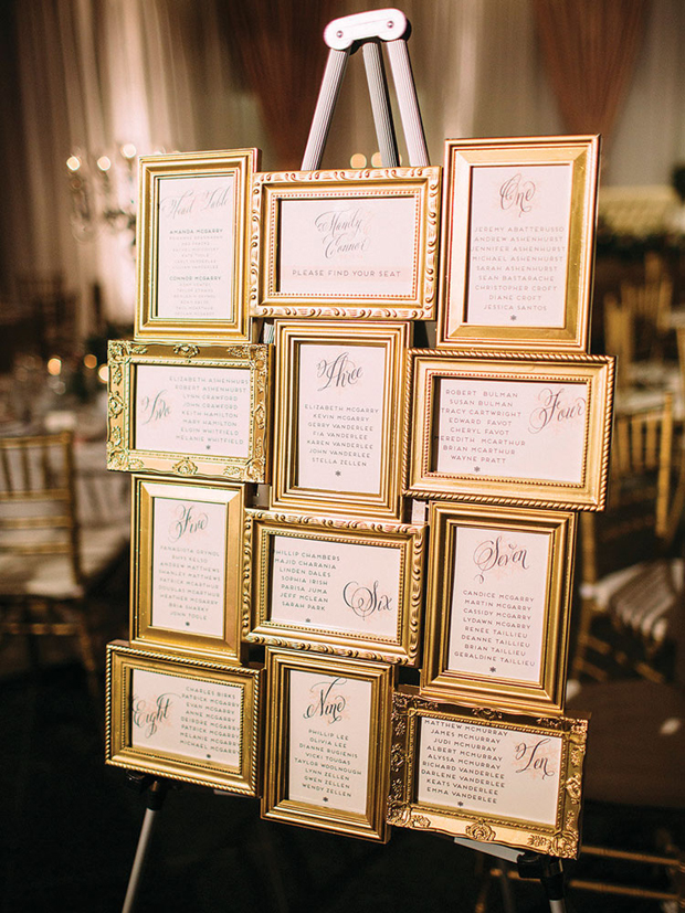 18 creative ways to display your wedding table plan for How to display picture frames on a table