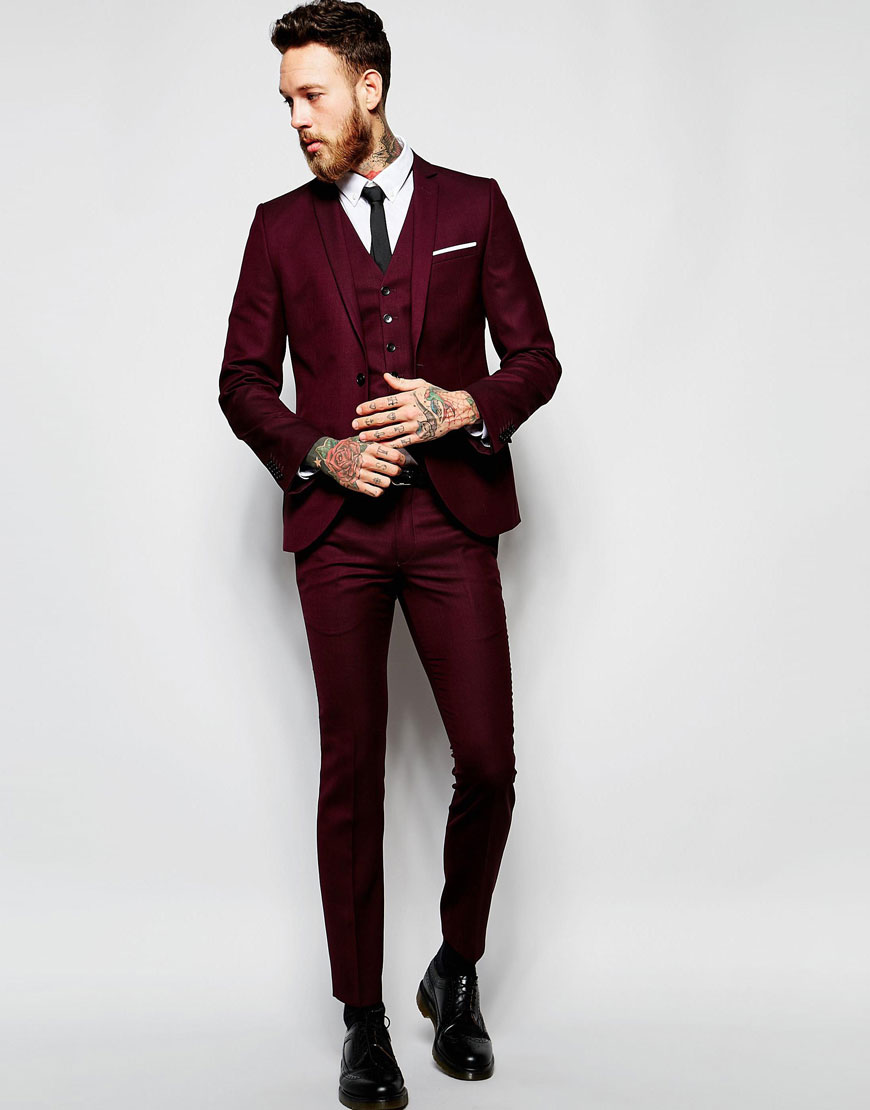 Heart Dagger Burgundy Wedding Suit Super Skinny Asos
