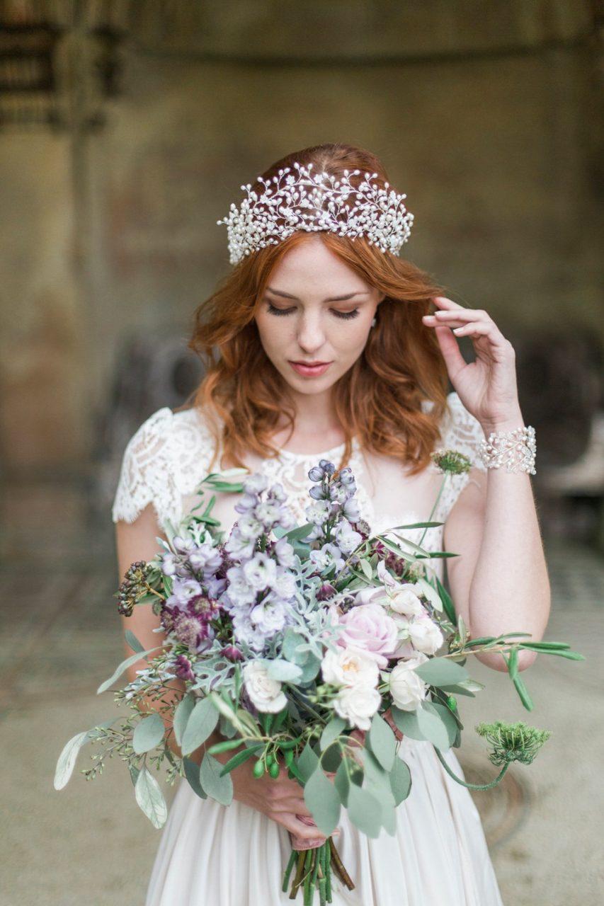 Crowning glory the return of the bridal tiara weddingsonline statement bridal crown headpiece pearl tiara hermoine harbutt izmirmasajfo