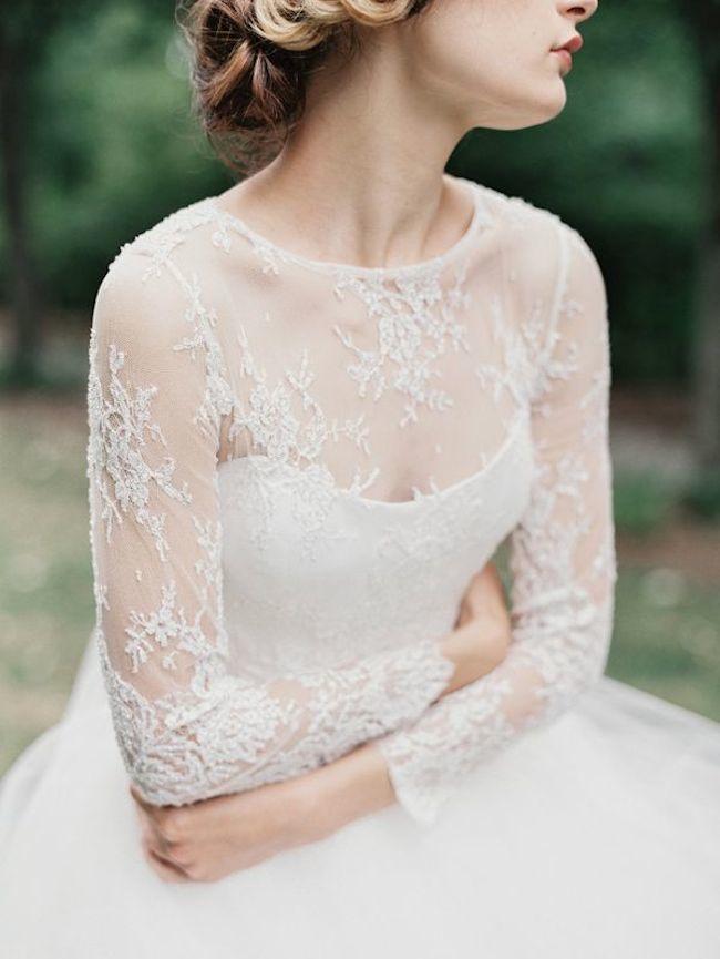 Detalles del vestido de novia digno de desmayarse-Sarah-Nouri-Mangas de encaje
