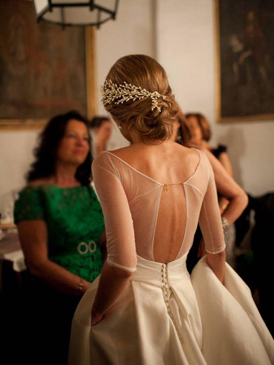 Detalles del vestido de boda digno de desmayarse-Cadena de oro-espalda transparente