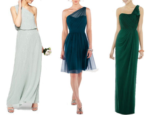 green-one-shoulder-bridesmaid-dresses