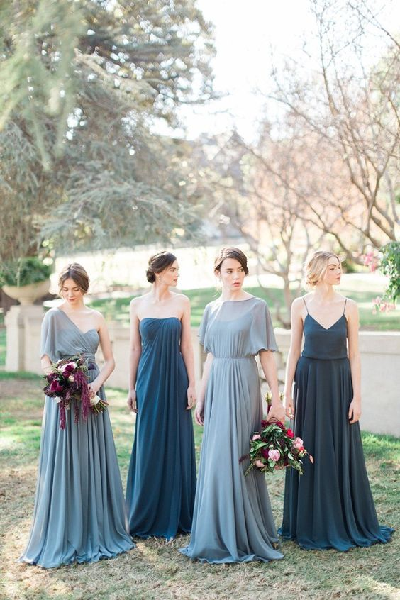 jenny-yoo-blue-mismatched-bridesmaid-dresses