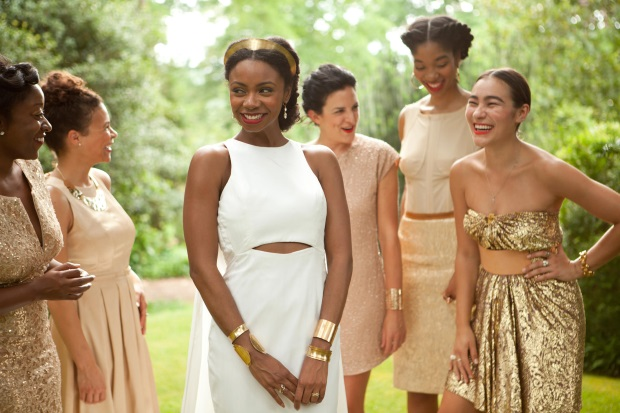 mismatched-bridesmaid-dresses-gold