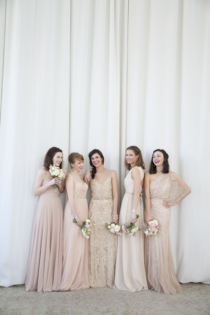 neutral-mix-match-bridesmaids-dresses-beaded