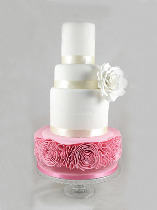 white-pink-ruffle-wedding-cake