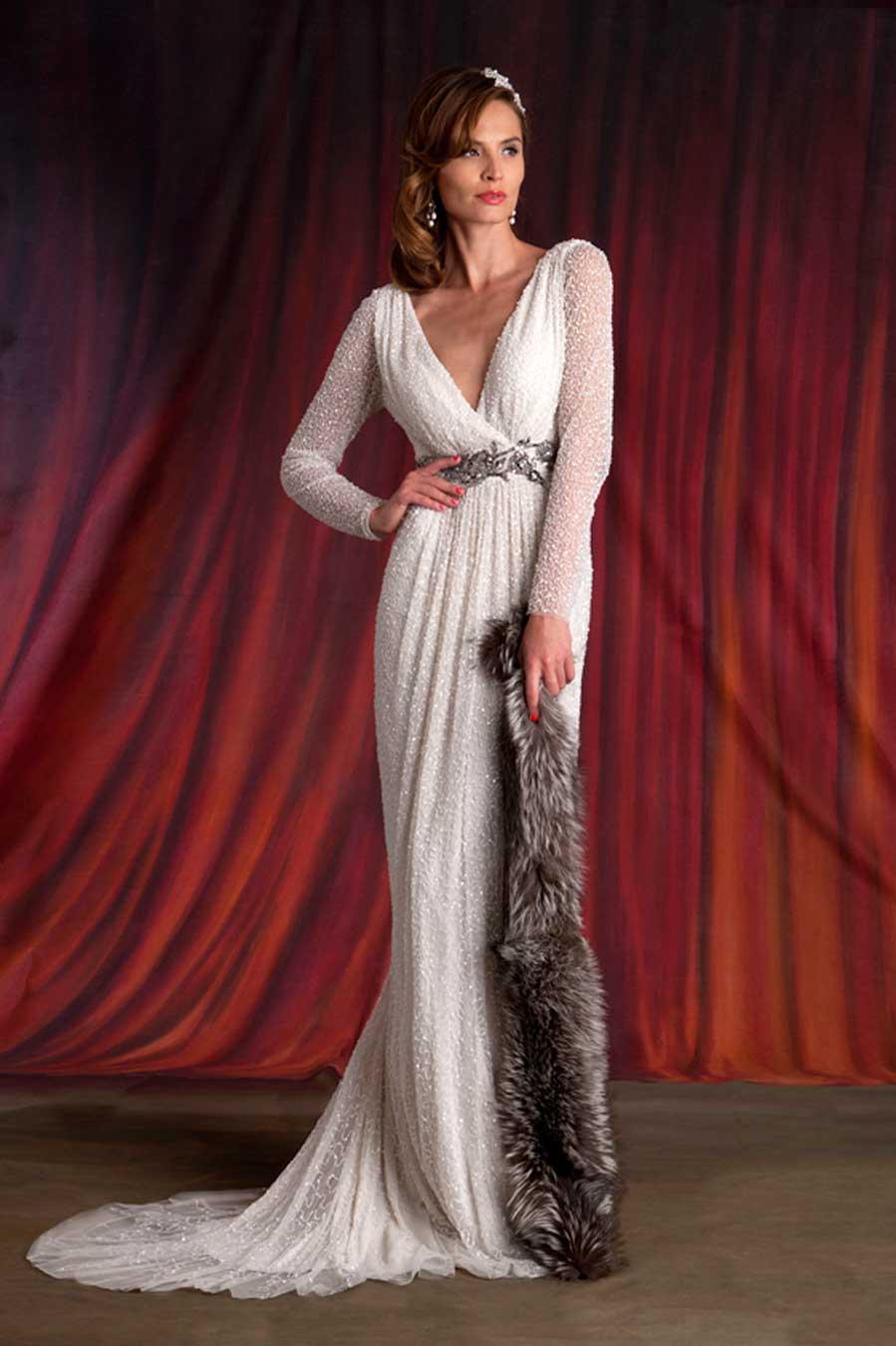 Eliza-Jane-Howell-Carole-Vintage-Style-Vestido de novia-Diseñador-Irlanda-Decadence
