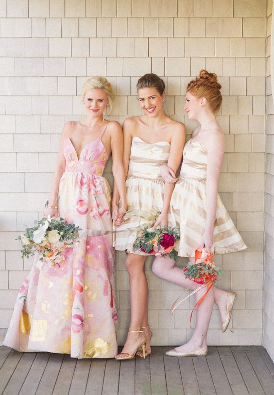 Preppy-Wedding-Style-Bridesmaids-Gold-Pink-Watercolour