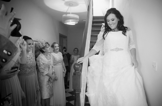 Traditional-Irish-Wedding-Bride-at-Home-Entrance-Hu-OReilly-weddingsonline