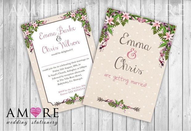 floral-polka-dot-wedding-invitation